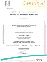 click to enlarge: ISO 9001:2000 Certification